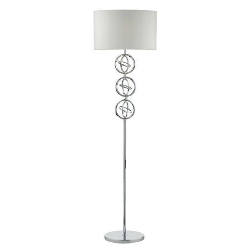 Innsbruck Floor Lamp Polished Chrome complete with Shade (Class 2 Double Insulated)